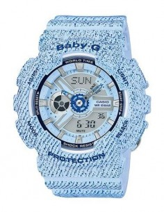 CASIO BRAND BA-110DC-2A3ER Azul Reloj Baby-G Hora Mundial,Fecha,5 Alarmas,Resistente al Agua,Correa