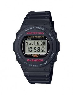 CASIO BRAND DW-5750E-1ER Reloj G-Shock Digital Negro Fondo Claro, Multi Alarma, Cronometro
