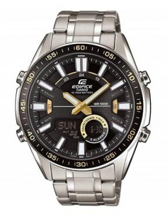 CASIO BRAND EFV-C100D-1BVEF Reloj Edifice Analogico, Esfera Negra Dorada, Multifuncion, Cronometro,