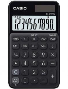 CASIO Calculadora Solar SL-310UC-BK Negra 10 Digitos Con Pilas