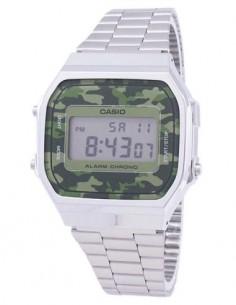 CASIO COLECCION A168WEC-3EF Reloj Digital Acero Inoxidable con Camuflaje, Fecha, Alarma, Resistente