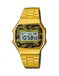 CASIO COLECCION A168WEGC-5EF Reloj Digital Acero Inoxidable Dorado,diseño camuflage, Fecha, Alarma,