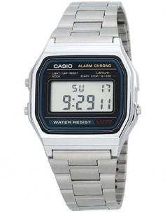 CASIO COLECCION A158WA-1DF Reloj Digital,Acero Inoxidable, Fecha, Alarmas, Cronometro,Resistente al