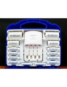 SANYO Pack Eneloop Cargador Ni-Mh + 4 Baterias Recargable AA 2000mAh+ 2 AAA 800mAh + 2 Adaptadores C