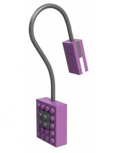 AURORA Linterna Led Con Pinza Libro Diseño Lego Block Violeta