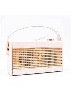 GPO Radio Analogica Portatil AM/FM Retro DARCY Beig Funcion Alarma, Pilas y Corriente Toma Auricular