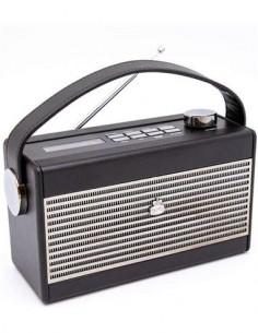 GPO Radio Analogica Portatil AM/FM Retro DARCY Negra Funcion Alarma,Pilas y Corriente Toma Auricular