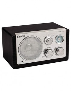 KONIG HAV-TR1100 Radio Vintage Sobremesa Negro AM/FM, Aux