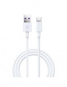 DEVIA Cable Datos Usb A Tipo-C Carga Rapida 5A 1.5Mtrs Blanco SHARK