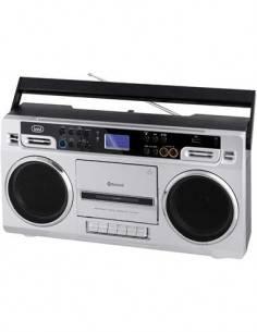 TREVI RR504BT Reproductor Portatil Con Usb/SD/BT/ Grabadora de Cassete Plata