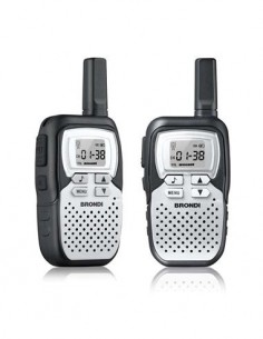 BRONDI Emisora Walkies PMR 446 FX Compact Sport Pack de 2 + 8 Canales, 10Km