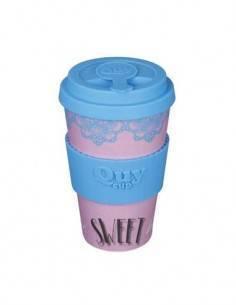 QUY CUP Taza Fibra de Bambu Sweet Home Azul 400Ml