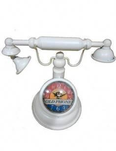 Reloj Vintage de Metal Diseño Telefono Retro Blanco 2200