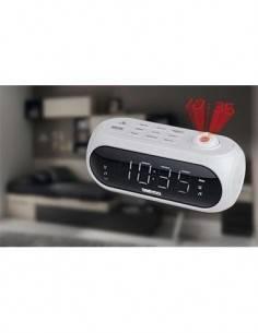 DAEWOO Radio Reloj Despertador DCP-490W Proyeccion en Techo, Doble Alarma Blanco