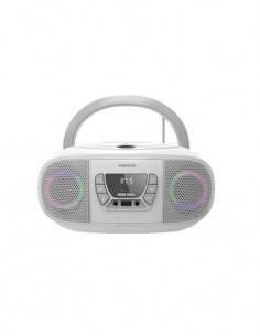 FONESTAR Radio CD Portatil Bluetooth BOOM-GO Gris Con Usb, Mp3, Aux In Con Luces