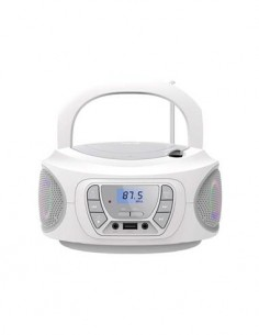 FONESTAR Radio CD Portatil Bluetooth BOOM-ONE Gris Con Usb, Mp3, Aux In Con Luces
