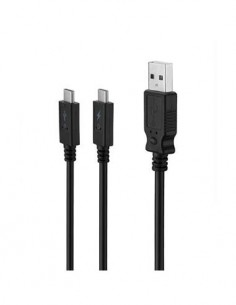 MUVIT Cable Datos y Carga Dual Tipo-C A Usb 3A 2Mtrs