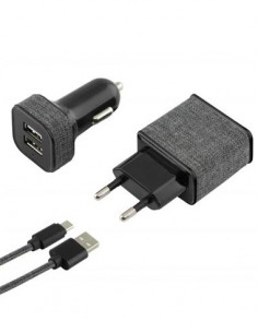 KSIX Pack 3 en 1  Cargador Red Por Usb 2.4A + Cargador Coche Usb 2A, Con Cable Micro Usb Negro tipo