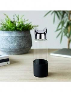 BALVI Botella de Agua Cristal 350ml Diseño CAT Negro