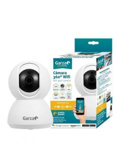 GARZA Camara Vigilancia Wifi 360º, Sensor de Movimiento, Control Por Voz, Vision Nocturna, Micro Sd