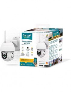 GARZA Camara Vigilancia Exterior Wifi 360º,Sensor Movimiento,Vision Nocturna,Control Por Voz,Micro S