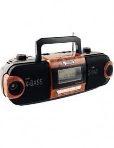 COLON RX-QT120R Reproductor Audio Retro Madera con Radio MultiBanda, Tarjeta SD, USB, Recargable, 22