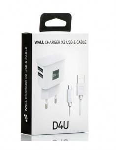 D4U Cargador Red 2XUsb 2.1A + Cable Datos Micro Usb 1Mtr