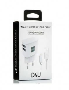 D4U Cargador Red 2X Usb + Cable Lightning Usb Iphone Blanco 2.1A/1Mtr