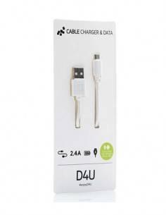 D4U Cable Datos Micro Usb 2.4A 1mtr Blanco