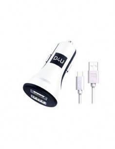 D4U Cargador Coche 2X Usb+ Cable Datos Tipo-C  Blanco