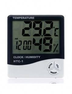 Reloj Con Temperatura, Humedad Gris Blanco HTC-1