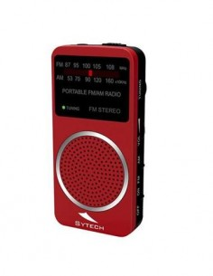 SYTECH SY-1675R Radio Bolsillo AM/FM Con Altavoz Rojo