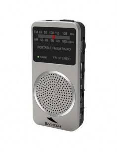SYTECH SY-1675P Radio Bolsillo AM/FM Con Altavoz Plata