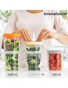 INNOVAGOODS Pack de 3 Recipientes Botes de Cocina Ajustables y Hermeticos V0101173