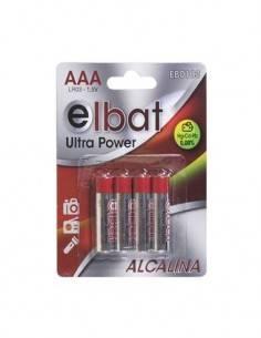 ELBAT Pack de 4 Pilas Alkalinas AAA LR03 1.5V