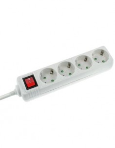 NIMO MEL002 Regleta 4 Tomas Con Interruptor Blanco y 1.5Mtrs De Cable