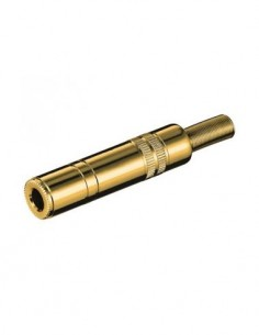 Clavija Jack 6.3mm/Hembra Estereo Dorado de Soldar Con696