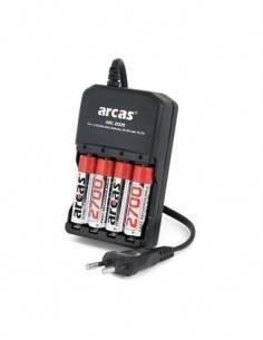 ARCAS Cargador de Pilas AA/AAA Ni-Mh Ni-Cd Recargable Con 4X Pilas AA 2700mAh CAR310 carga individua