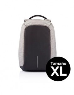 """XDDESIGN BOBBY XL Mochila Antirrobo 17"""" Color Gris Con Puerto de Carga USB Exterior, Bandas Reflecta"""