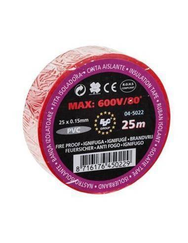 04-5022 Cinta Aislante 25X0.15mm Rojo Ignifuga 25mtrs