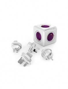 Allocacoc PowerCube 4 Tomas Schuko Violeta Blanco + 3 Adaptadores de Viaje USA. UK, AU