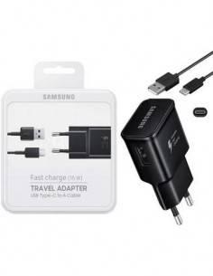 SAMSUNG Cargador Red + Cable Datos Tipo-C  EP-TA20  9V/1.67A  5V/2A Blanco/Negro