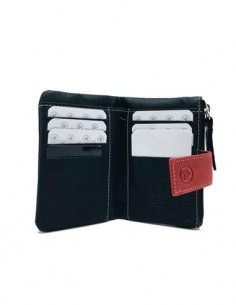 LUGUPELL Cartera Piel Mujer RFID Tarjetero y Monedero Azul PISTOL 310/15