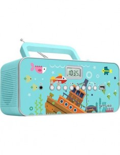 MUSE Reproductor Radio CD Portatil M-29 KB Azul Diseño Infantil Mp3, Usb Con Microfono