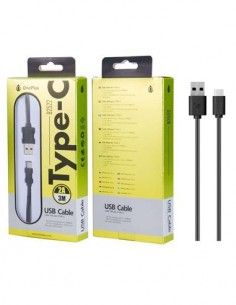ONE + Cable Datos Tipo-C a Usb 2A 3Mtrs Negro B2522