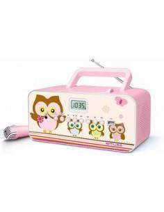 MUSE Reproductor Radio CD Portatil M-29 KP Rosa Diseño Infantil Mp3, Usb Con Microfono